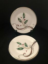 4 Lenox Holiday Nouveau Platinum White 6 3/8 Bread And Butter Plates Usa Mint