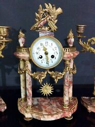 Stunning 19th C Vincent Et Cie. Red Marble And Ormolu Portico Garniture Clock