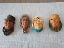 Bossons Chalkware Heads Wall Plaque Charles Dickens Lot Of 4