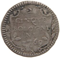 Papal States 5 Bolognini 1769 Bologna Clemens Xiv. Very Rare T97 153