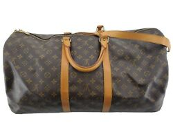Louis Vuitton Keepall Bandouliere Strap 55 Duffel Travel Bag Carry Luggage 26970