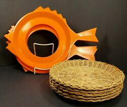 Vintage Set Of 6 Serva-plate Fish Shaped Paper Plate Holders, 5 Wicker Plates