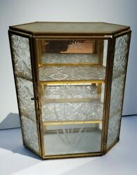 """Vintage 7.5"""" Small Brass Glass Table Top Display Curio Cabinet Shelf Case Mirror"""