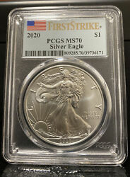 2020 American Silver Eagle Coin Pcgs Ms70 First Strike - Box Of 20