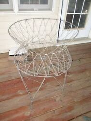Vintage Farmhouse Wire Metal Collapsible Laundry Basket Mid Century Allied