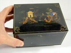 Antique Early 19th C Chinese Painted Tin Tea Caddy Box Pagoda Decoration