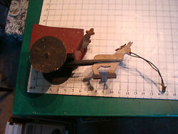 Early Folk Art Donkey Pulling Man And Cart Pull Toy, Early