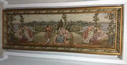 Vintage Italian Tapestry Wall Hanging Art Countryside Romantic 80 X 24 Framed
