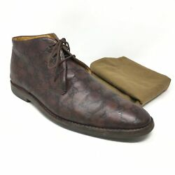 Men's Gg Monogram Ankle Boots Chukka Shoes Size 42.5 E/9 E Us Wide Brown