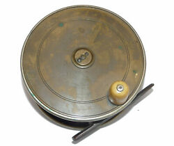 Hardy Brass And Ebonite 4 Andfrac34andrdquo Victorian Antique Salmon Fly Reel