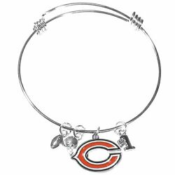 Chicago Bears Wire Bangle Bracelet With Charms Nfl Football Jewelry