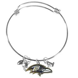 Baltimore Ravens Wire Bangle Bracelet With Charms Nfl Football Jewelry