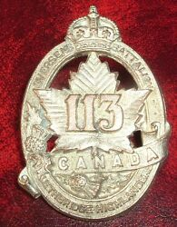 Cap Badges-ww1 Canadian Cef 113th Lethbridge Highlanders Officers/pipers Ref 113