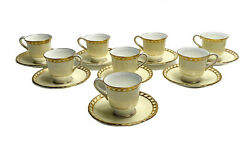 8 Minton England Porcelain Demitasse Cup And Saucers. Pale Yellow And Gilt
