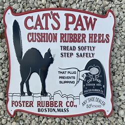 Vintage Cats Paw Embossed Metal Sign Porcelain Fosters Rubber Shoe Heel Oil Gas