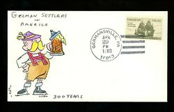 Us Fdc 2040 Klem Painted Hp 1983 Germansville Pa German Immigration Unofficial