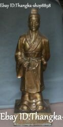 39 China Pure Bronze Dynasty Famous Doctor Bian Que Physician Elder Men Statue