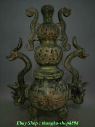 30 Rare Old Chinese Bronze Ware Dynasty Palace Beast Zun Dragon Handle Censer