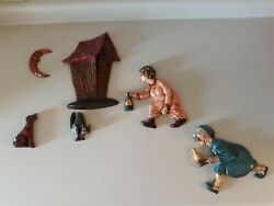 Vntg 1960s Arnels Race To The Outhouse Complete Set Of 6 Bathroom Wall Decor