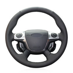 Black Artificial Leather Car Steering Wheel Cover For Ford Focus 3 2012-14 Kuga