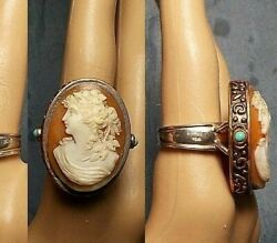 Carnelian Large Cameo Ring Exquisite Carving Bacchante Grapes Leaves Barse 7.7
