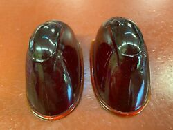 Vintage Pair Red Glass Kd Marker Cab Clearance Light Lenses Ls303