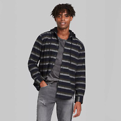 Menand039s Striped Long Sleeve Hooded Flannel Button-down Shirt Navy Xs