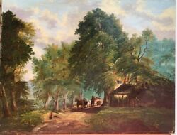 Large Antique Original Oil Painting On Canvas, Country Landscape, Unsigned