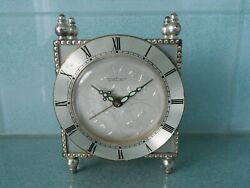 Vintage Peter Alarm Clock - Silver Plated On Brass - Working Wind Up Movement