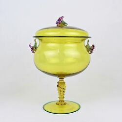 Canary Yellow Venetian Murano Glass Covered Compote W Flower Finial And Handles Gl
