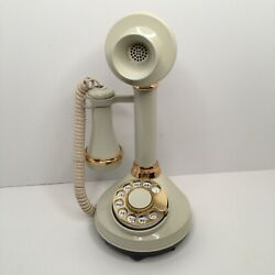Candlestick Dial Telephone White Cream American Telecommunication Corp Vintage