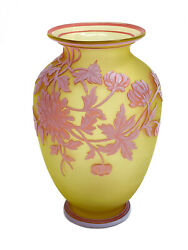 Thomas Webb And Sons Glass 3 Tone Cameo Vase White On Red On Yellow, Signed