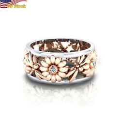Two Tone Sunflower Dragonfly Ring Women Gorgeous 925 Silver Plated Size 6-10
