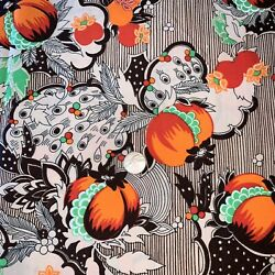 5 Yds Vtg Fabric Polyester ? Fruit Orange Brown 212quot; x 61quot; Floral Screen Printed