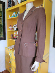 Vtg 40s Wwii Rockabilly Pockets French Cuff Seasonaire Victory Skirt Suit S/m