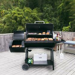 Charcoal Grill Barrel Bbq Smoker Combo Heavy Duty Steel Outdoor Party 1189 Sq In