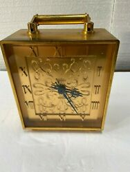 French Heavy Brass Desk Clock Made For Black, Starr And Gorham Good Condition.