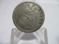 Very Old Very Rare 1876 Cc Seated Liberty Quarter A.unc Carson City Nfm1165