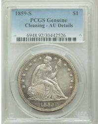 1859-s Seated Liberty Dollar Pcgs Au Pretty Coin Super Fast Shipping