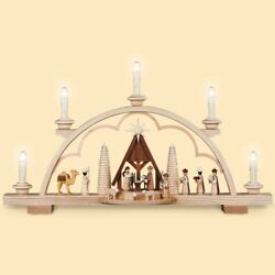 German Candle Arch Nativity Scene With Manger, Length 57 Cm / 22 .. Mu 12528 New