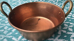 Vintage Solid Copper Hammered Mixing Bowl Brass Handles Farmhouse Kitchen Decor