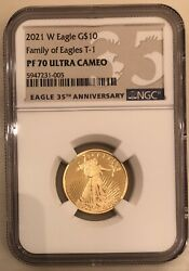 Pf70 Ngc American Eagle 2021 One-quarter Ounce Gold Proof T-1 10