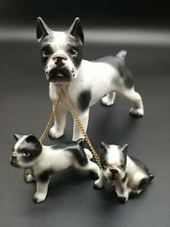 Lot of 3 Vintage Boston Terrier Figures Mom and Puppies with Chain Japan