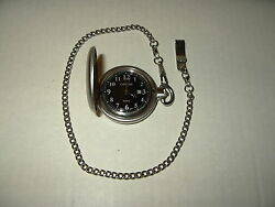 Signed Cherokee Brushed Silvertone Men's Quartz Pocket Watch And Chain