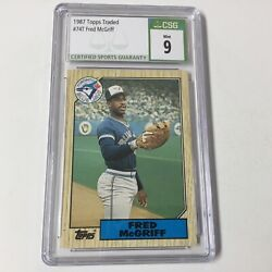 1987 Topps Traded Fred Mcgriff 74t Csg 9 Mint Blue Jays Mlb