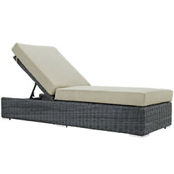 Modway Summon Wicker Rattan Aluminum Outdoor Chaise Lounge Chair, Beige