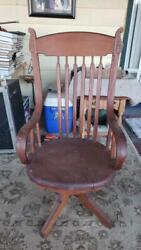 Antique Vintage Swivel 1888 Johnson Chair Co. Desk Wood Project As-is
