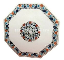 4and039 Marble White Dining Table Top Multi Stone Floral Inlay Occasional Decor W312b