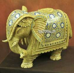 11and039and039 Green Marble Elephant Lapis Floral Figurine Handmade Trunk Down Decor H3771