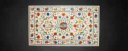 Dining White Marble Table Top Multi Mosaic Outdoor Inlay Collectible Decor H3827